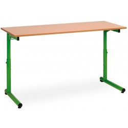 Table scolaire reglable a degagement lateral Meline 130x50cm plateau stratifié chant alaisé T3 a T7