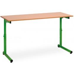 Table scolaire reglable a degagement lateral Meline 130x50cm plateau mélaminé chant PVC T3 a T7