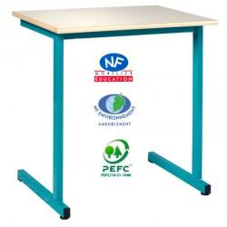 Table scolaire Naples à dégagement latéral NF 130x50 cm stratifié chant surmoulé T4 à T6