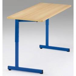 Lot de 2 tables scolaires NF à dégagement latéral Quatro mélaminé PVC 130x50 cm réglables T3 à T6 autres coloris