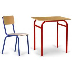Pack scolaire n°1 : 30 tables Violette 70x50 cm mélaminé + 30 chaises Tiphaine T4 à T7