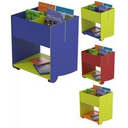 Bac à livres mobile grand modèle L61,5 x P51 x H70,5 cm