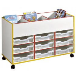 Chariot pour bacs et livres bi-face L106,5x66,5x45 cm