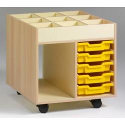 Chariot de rangement et bac à albums L73,5xP60xH80 cm avec 5 bacs plastiques jaunes