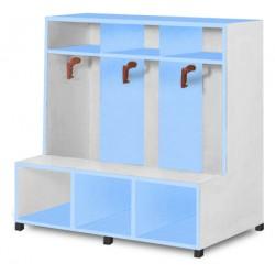 Vestiaire 3 cases patères assise et range sacs tablettes L104xP80xH125 cm