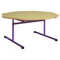 Table maternelle réglable octogonale ø 120 cm stratifié chants alaisés