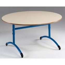 Table maternelle réglable NF T1 à T4 à dégagement latéral Loulou stratifié ronde ø 120 cm
