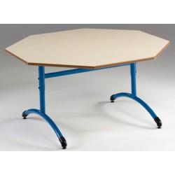 Table maternelle réglable NF T1 à T4 à dégagement latéral Loulou stratifié octogonale ø 120 cm