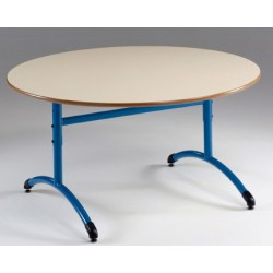 Table maternelle réglable NF T1 à T4 à dégagement latéral Loulou mélaminé ronde ø 120 cm