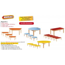 Pack scolaire n°5 tables : 4 trapèzes + 6 120x80 + 4 rondes 120 + 4 ovales 150x90 cm