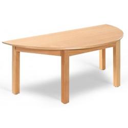 Table maternelle demi lune Lola hêtre vernis stratifié alaise bois 120x60 cm TC à T3