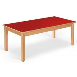 Table maternelle Lola hêtre vernis stratifié alaise bois 120x80 cm TC à T3