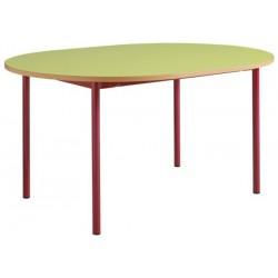 Table maternelle 4 pieds ovale 120x90 stratifié chants alaisés T1 à T4