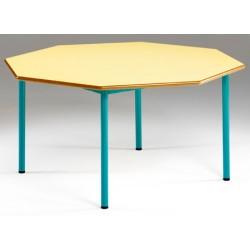 Tables maternelles NF 4 pieds Joséphine octogonale ø 120 cm cm stratifié MDF chant verni T1 à T3