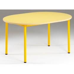 Tables maternelles NF 4 pieds Joséphine ovale 120x90 cm stratifié MDF chant verni T1 à T3