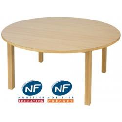 Table bois NF Pioupiou ronde diam. 120 cm 4 pieds TC à T3