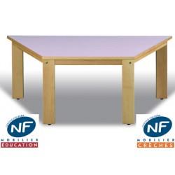 Table bois NF Pioupiou trapèze 120x60x60 cm TC à T3