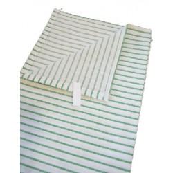 Lot de 200 essuies verres coton blanc rayé vert 60x80 cm