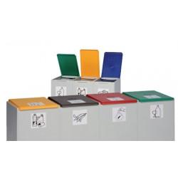 Couvercle gris clair de poubelle tri sélectif 60L (vendu uniquement avec le conteneur)