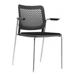 Lot de 4 chaises coques Calado empilables avec accoudoirs ouverts assise tapissée gr1