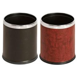 Corbeille à papier ronde à double paroi aspect cuir 10L