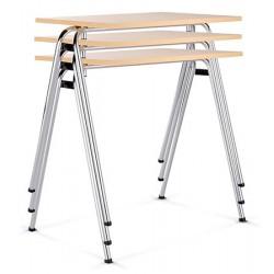 Table empilable Axo mélaminé chants abs pieds chromé 50 x 70 cm