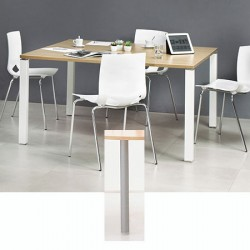 Table de réunion carrée 140 x 140 cm pieds tubes