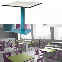 Table à piétement central carré Mathilde stratifié chants surmoulés diam 80 cm